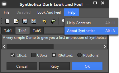 SyntheticaDark Java Look and Feel