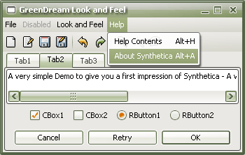 SyntheticaGreenDream Java Look and Feel