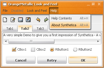 SyntheticaOrangeMetallic Java Look and Feel