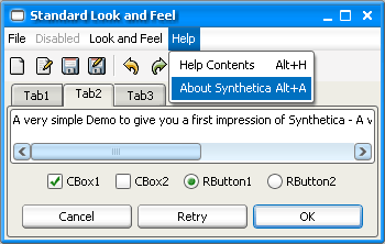 SyntheticaStandard Java Look and Feel